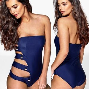 NEW Boohoo Navy Cut Out Bandeau Swimsuit 8